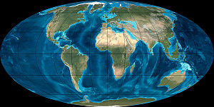 A reconstruction of Earth as it appeared during the Miocene around 20 million years ago.