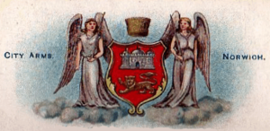 The city arms with unofficial angel supporters from a 1903 cigarette card