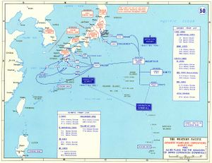 A map outlining the Japanese and U.S. (but not other Allied) ground forces scheduled to take part in the battle for Japan. Two landings were planned:(1) Olympic—the invasion of the southern island, Kyūshū,(2) Coronet—the invasion of the main island, Honshū.