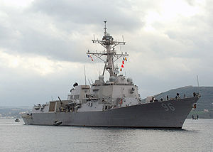 USS Bainbridge (DDG 96) arrives at NATO Pier Facility in Souda harbour