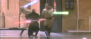Three man in robes fight with laser swords in a hangar.