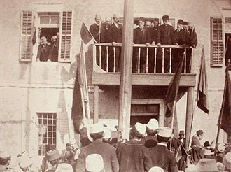 Ismail Qemali after the session of the Assembly of Vlorë declaring to Albanian People the decision of independence.