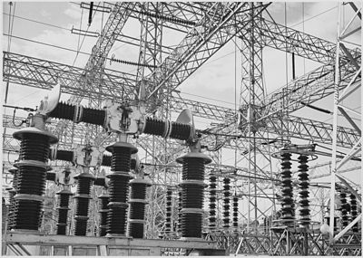 Ansel Adams photograph of Electrical Wires of the Boulder Dam Power Units with Gyro-Transformers (TM of Tesla American Company)