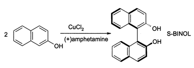 Coupling of beta-naphthol using CuCl2.