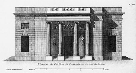 Pavillon de Louveciennes - Elevation of entry side (façade from the garden)