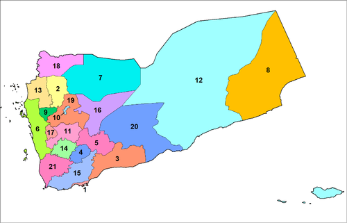 A clickable map of Yemen exhibiting its 21 governorates.