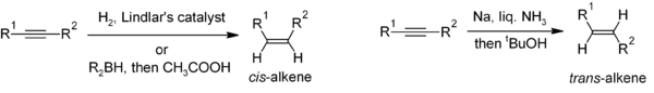 Synthesis of cis- and trans-alkenes from alkynes
