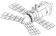A line diagram showing a space station module consisting of a large cylinder with a shallow cone at one end and a steeper cone at the other. The shallow cone has a docking port mounted in the centre, whilst the steeper cone has two large solar arrays projecting from it. Two more arrays are mounted at the base of the cone.