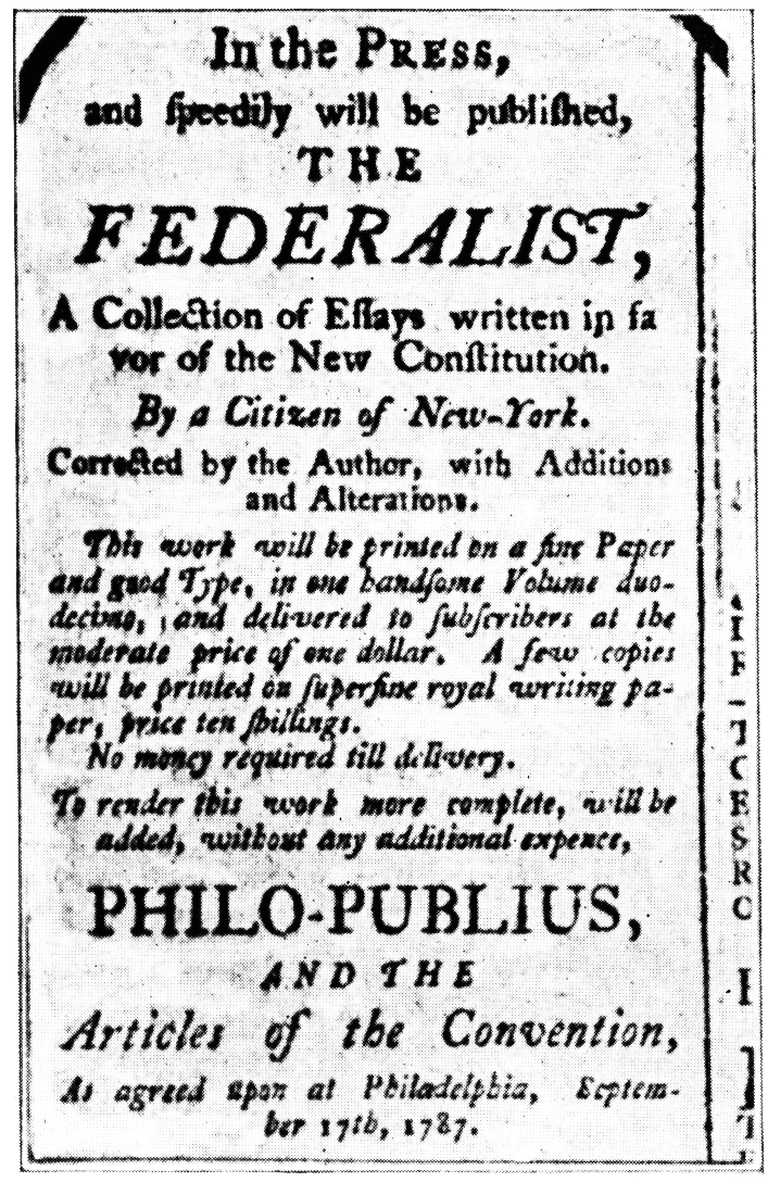 the federalist essays argued that There were two sides to the great debate:  of essays known as the federalist papers under the pseudonym publius both hamilton and madison argued that the.