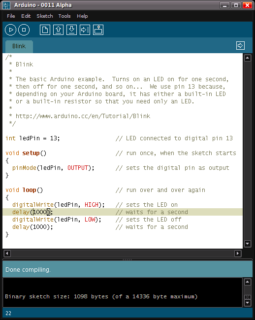 screenshot of the arduino ide showing the blink program the