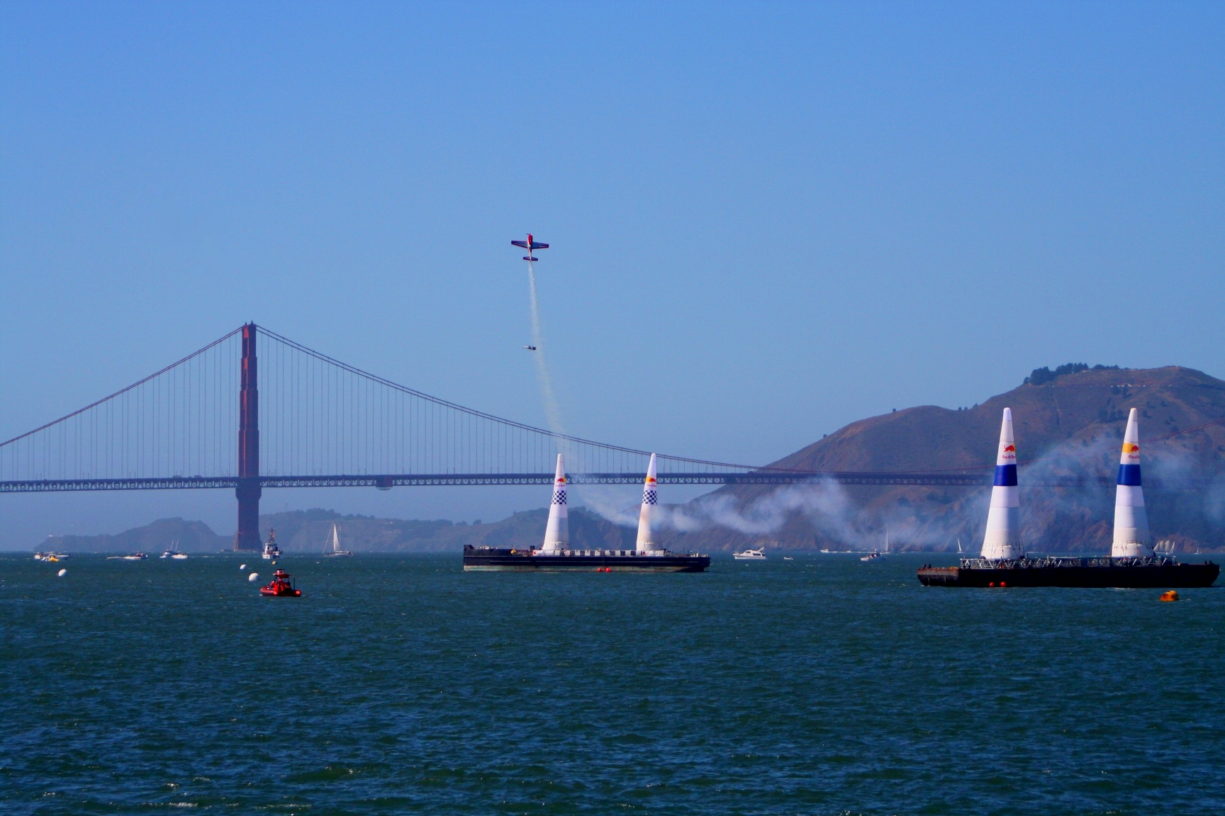 Air show over golden gate bridge