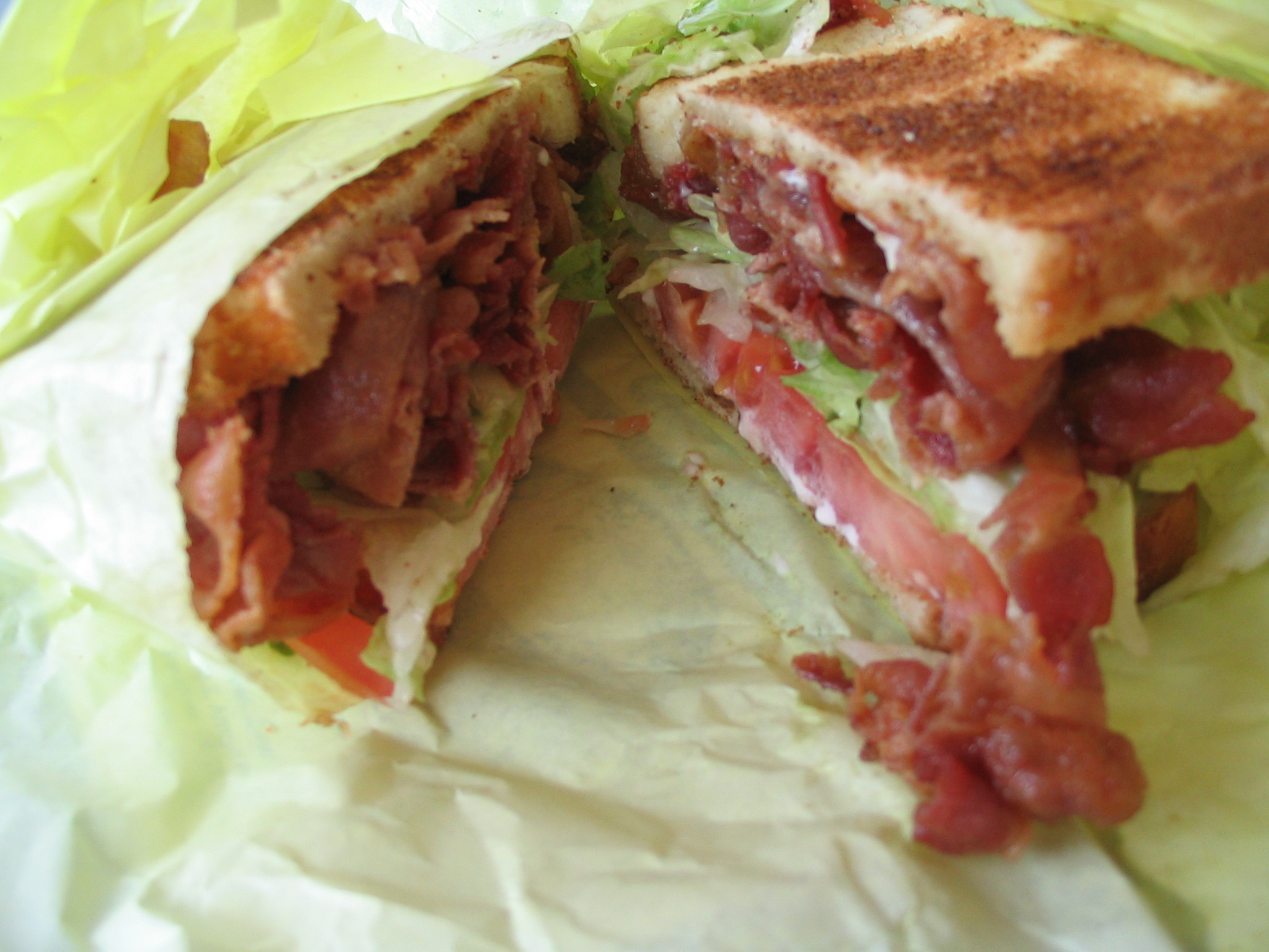 bacon, lettuce, and tomato (BLT) sandwich
