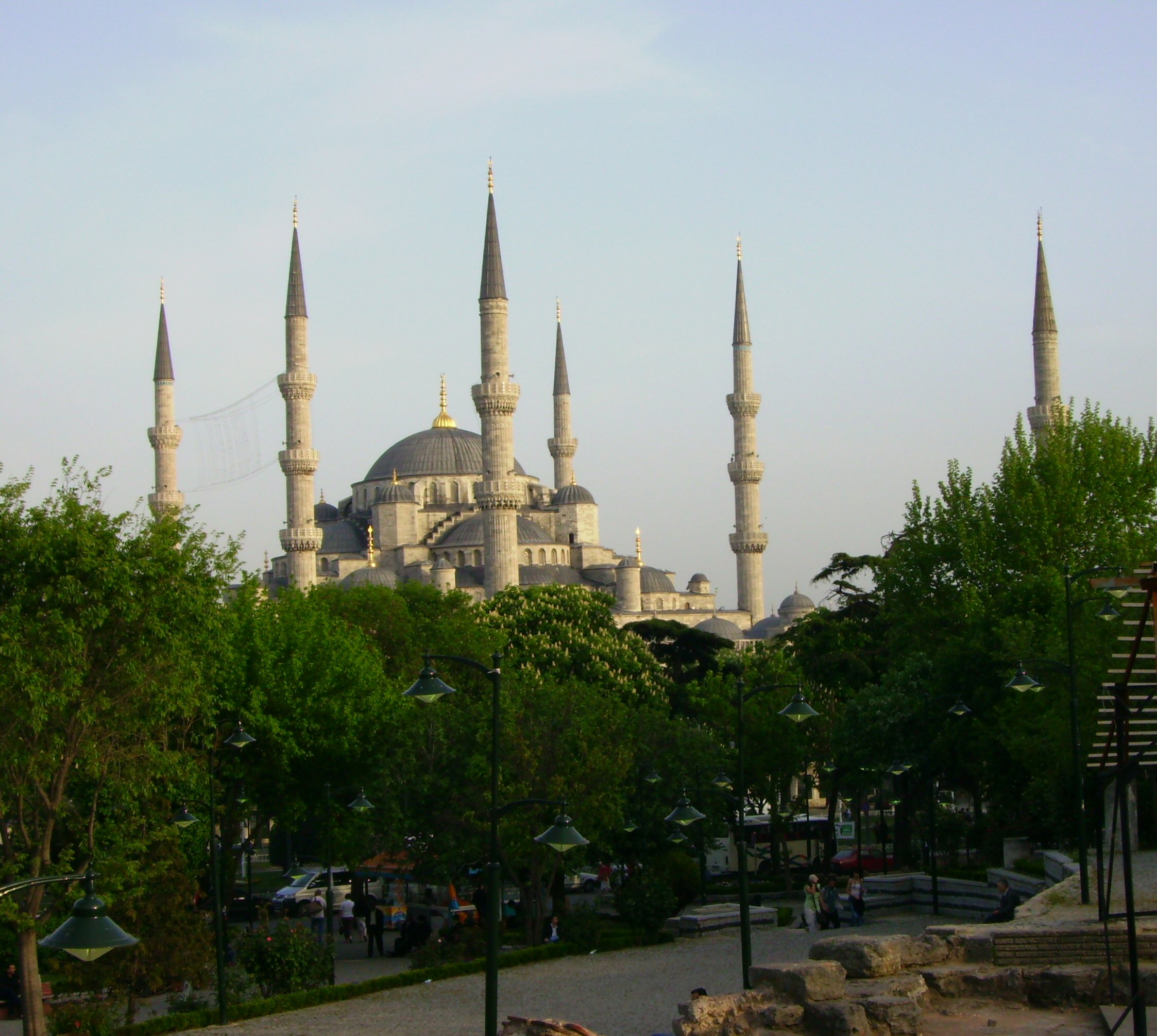 The six minareted Blue Mosque or Sultan Ahmed Mosque in Istanbul ...