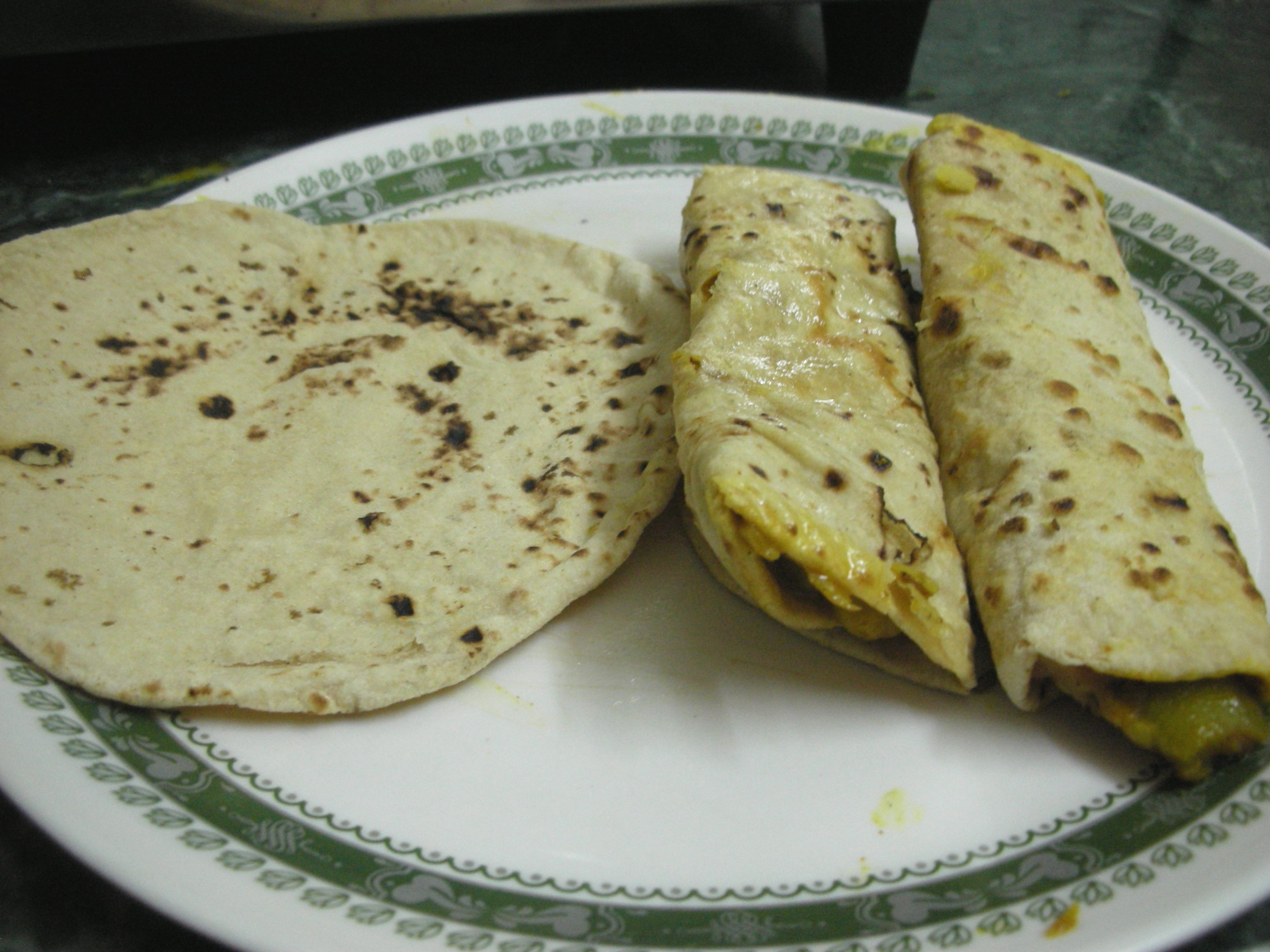 Plain chapati and Stuffed rolled chapatis
