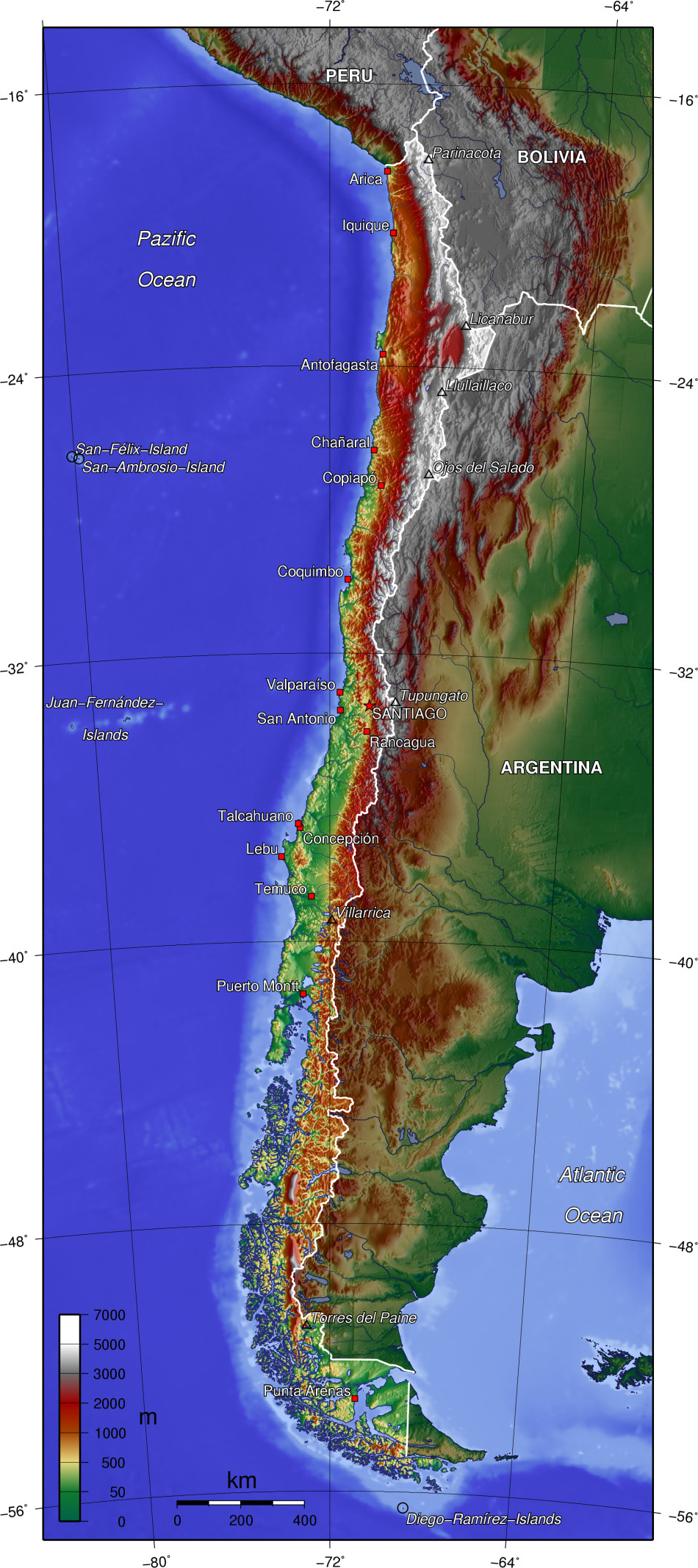 a geography of chile Chile is situated in southern south america, bordering the south pacific ocean and a small part of the south atlantic ocean chile's territorial shape is among the world's most unusual from north to south, chile extends 4,270 km (2,653 mi), and yet it only averages 177 km (110 mi) east to west.