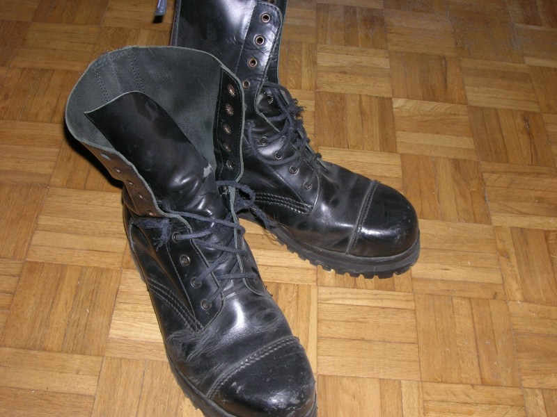 Shined black combat boots as worn by the IDF