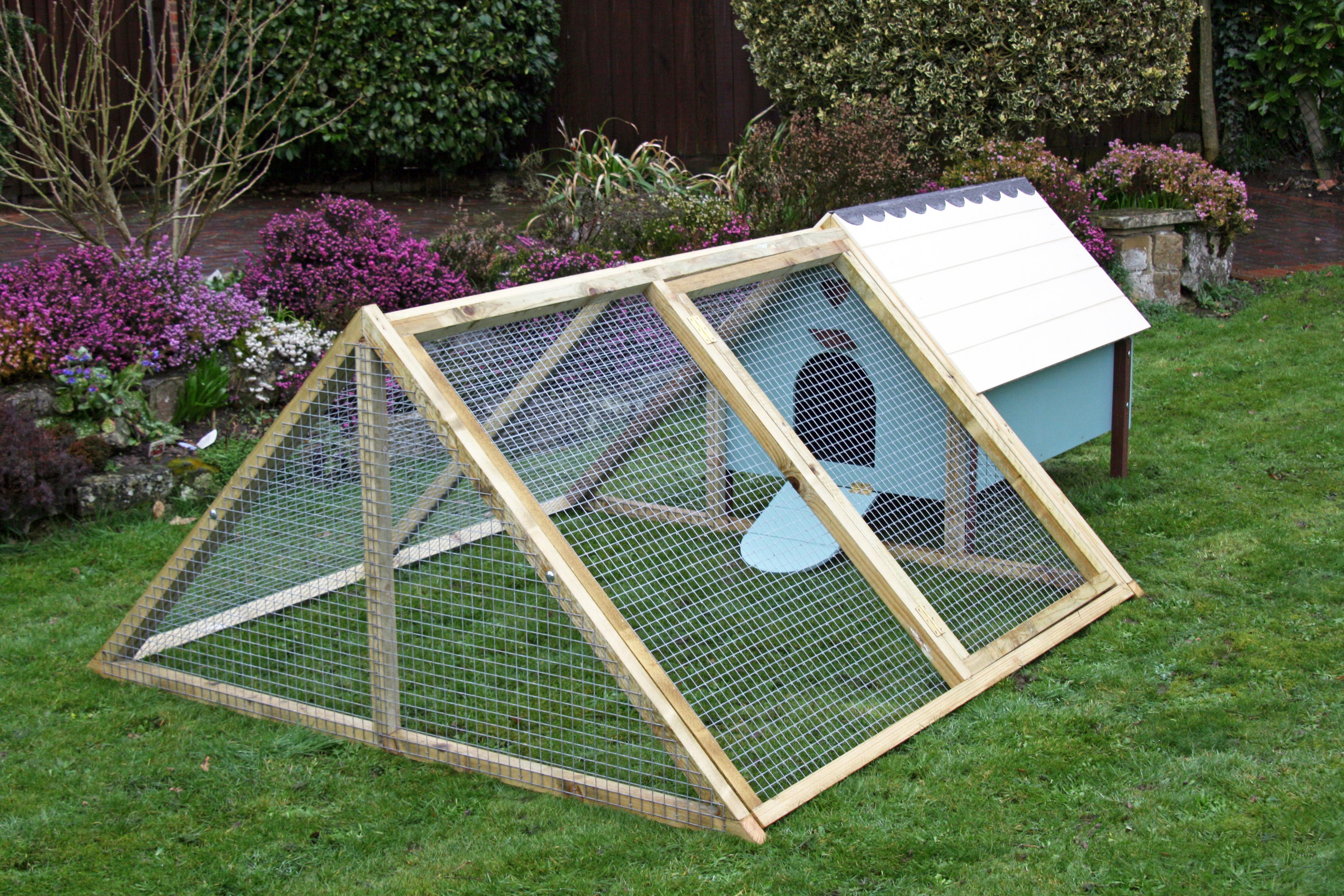 henhouse atffixed to an 'A-frame' enclosure