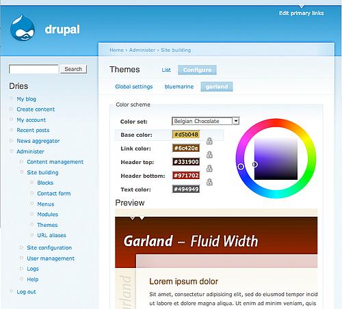 drupal themes url