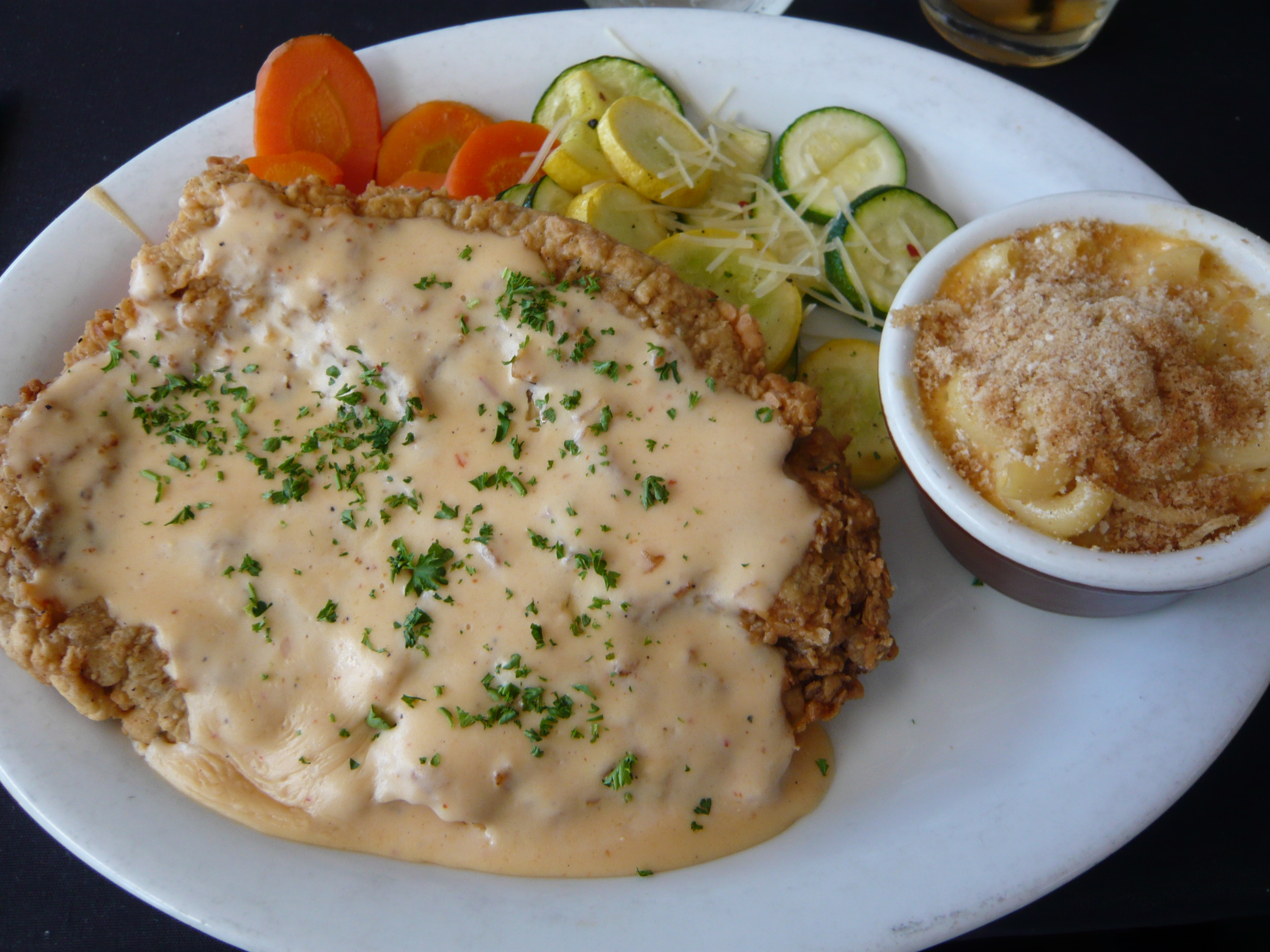 Chicken fried steak with chipotle cream gravy