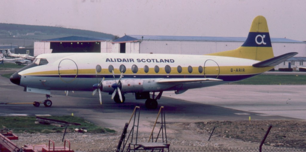 caption a vickers viscount at aberdeen airport scotland