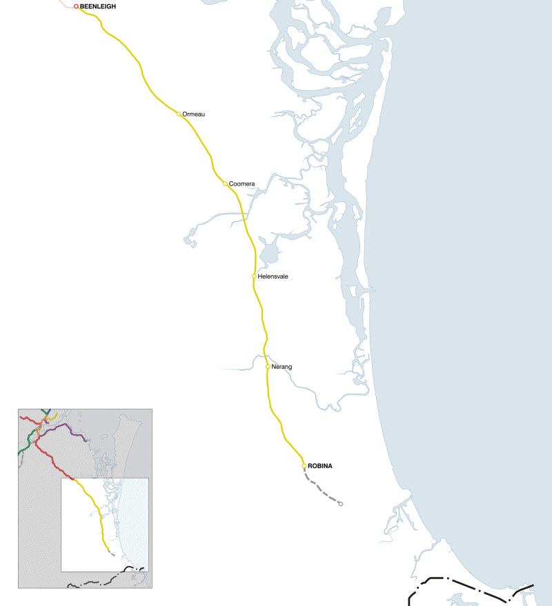 gold coast queensland map. Gold Coast railway line,