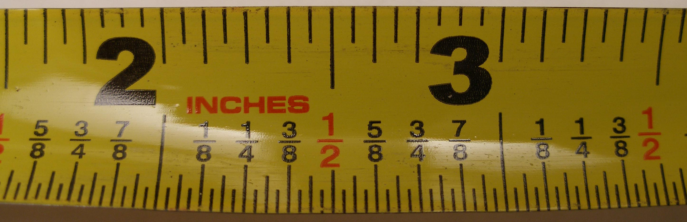 Measuring tape capable of measuring down to 1 32 inch 0 79375 mm