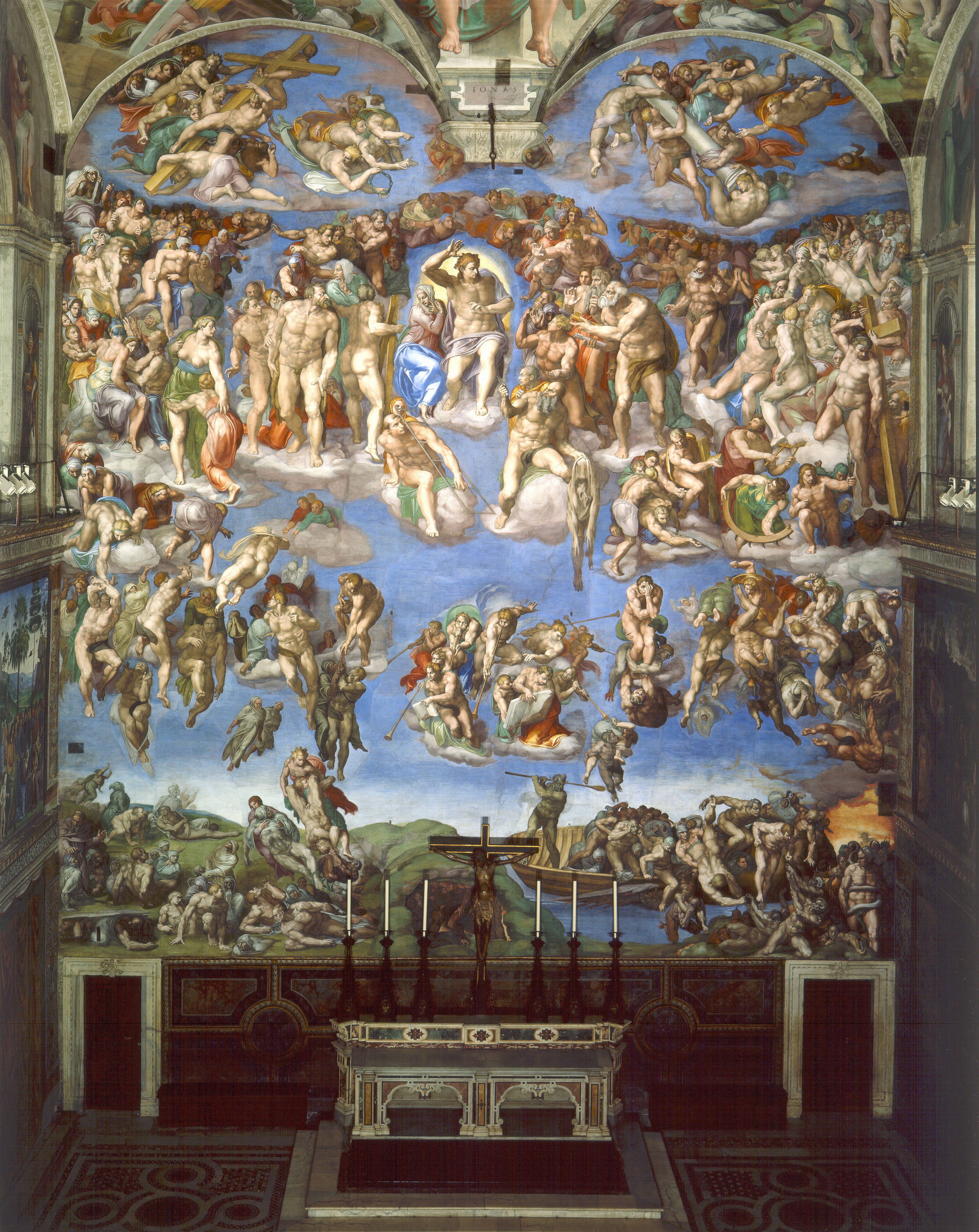 an interpretation of michelangelos the last judgment Michelangelo, last judgment, sistine chapel, altar wall, fresco, 1534-1541 ( vatican city, rome)  [explain the sack of rome and the protestant reformation .