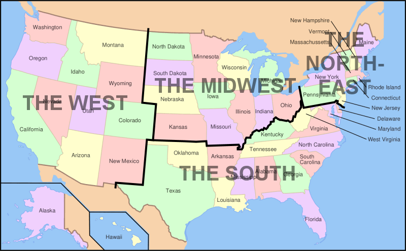 Us Map Of Midwest States Us Map Of The United States - Map of us southern states