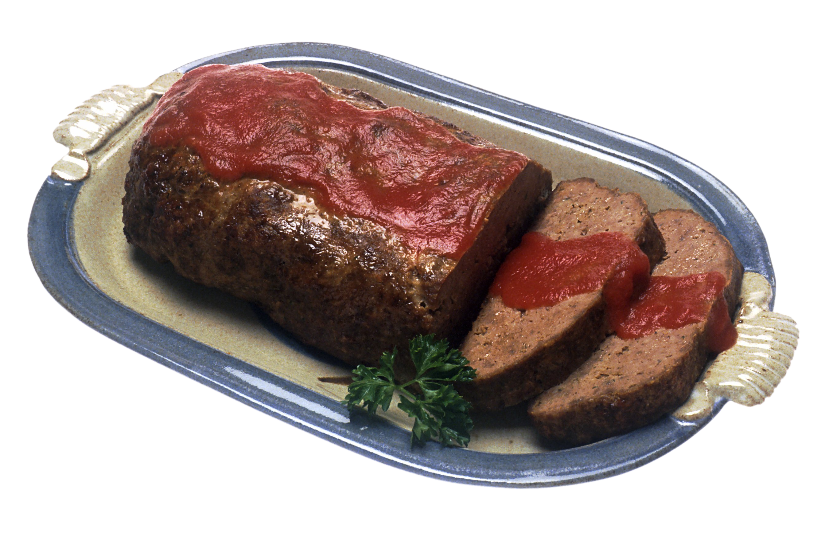 meatloaf served with sauce.