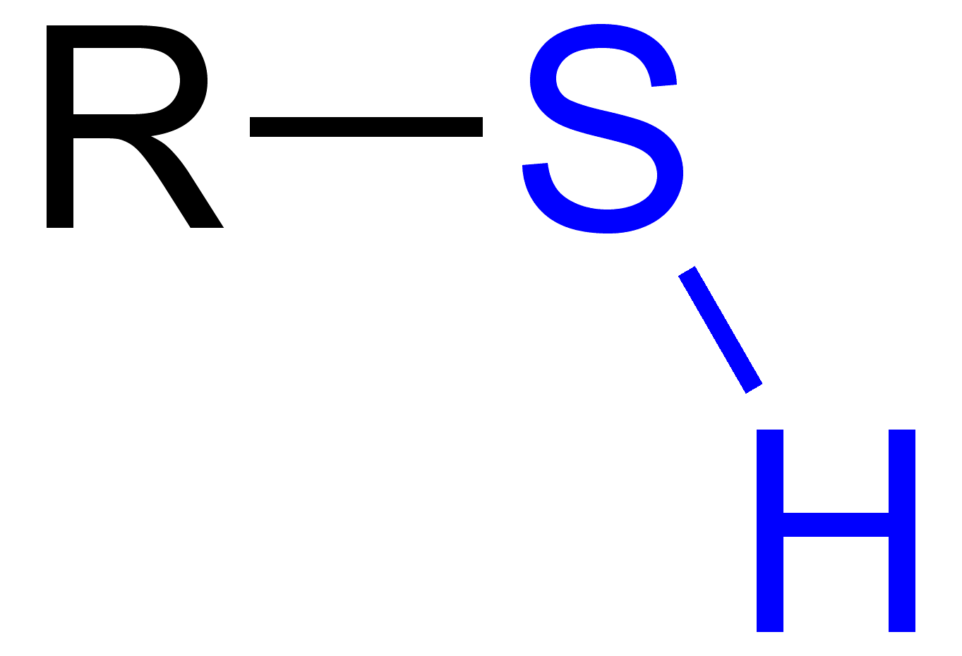 Thiol with a blue highlighted sulfhydryl group.
