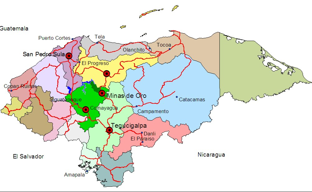 map of Minas de Oro in Honduras.