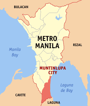 showing the location of Muntinlupa City coord|14|22|60|N|121|2|60|E