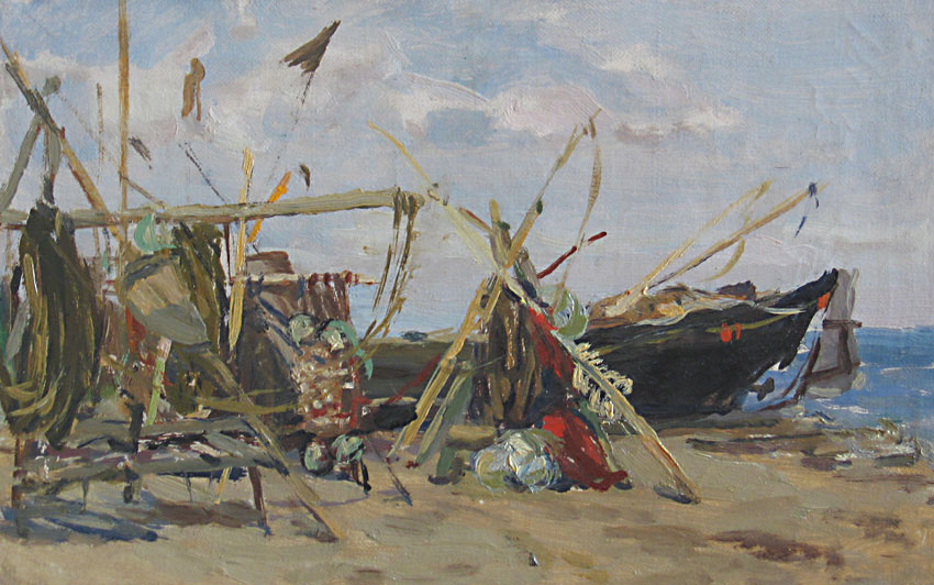 Н. Штейнмиллер.  Рыбацкие снасти.  1951.