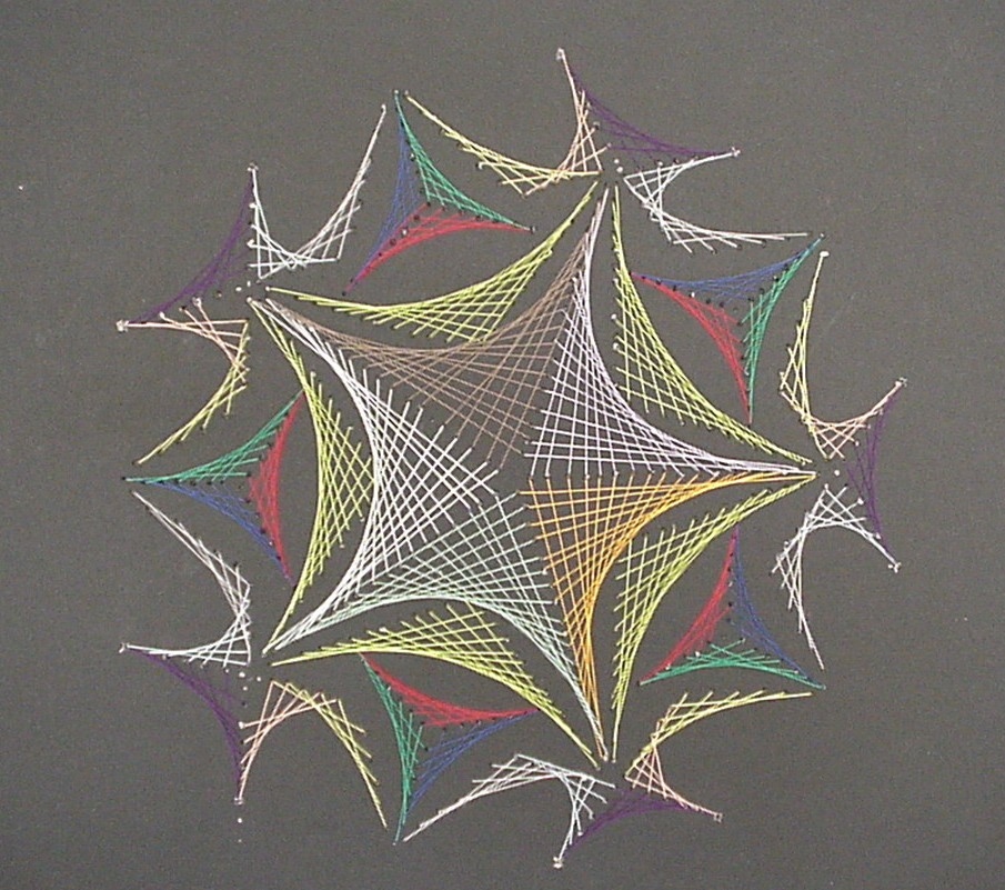 String art, created with thread and paper.
