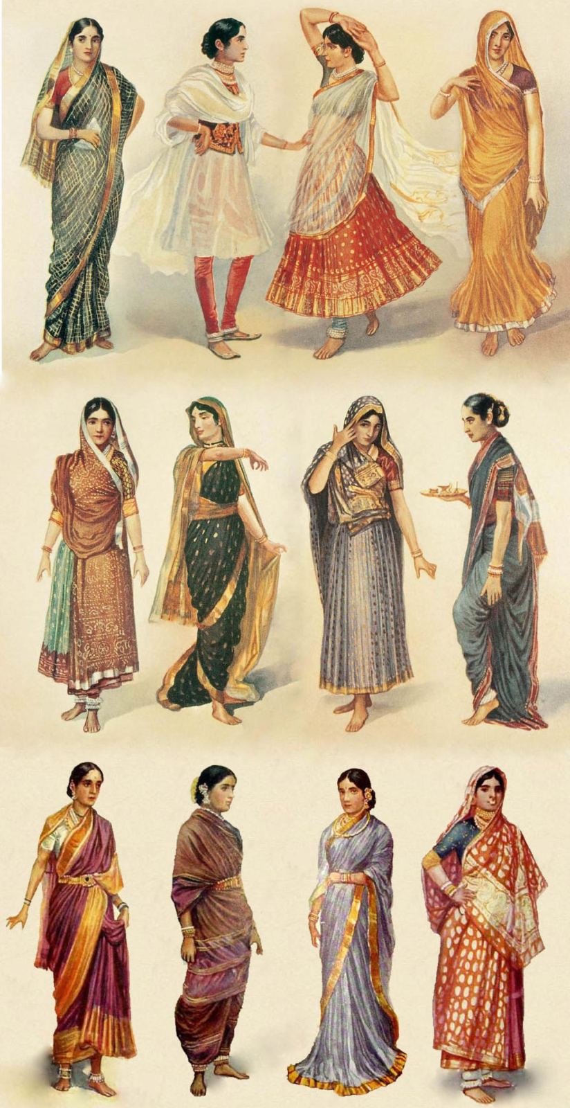 Illustration of different styles of sari clothing worn by women in