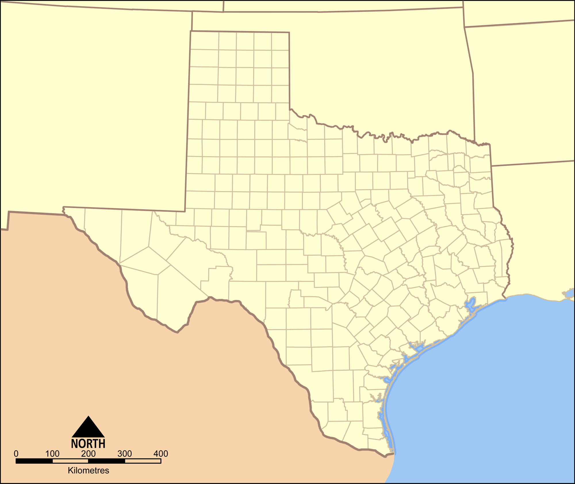 Texas Map With Counties