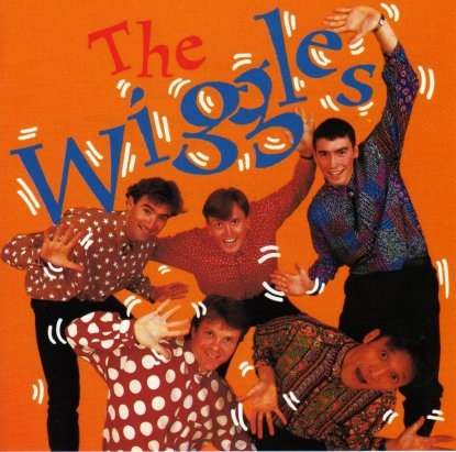 Cover art for the wiggles' first album (1991), with original member