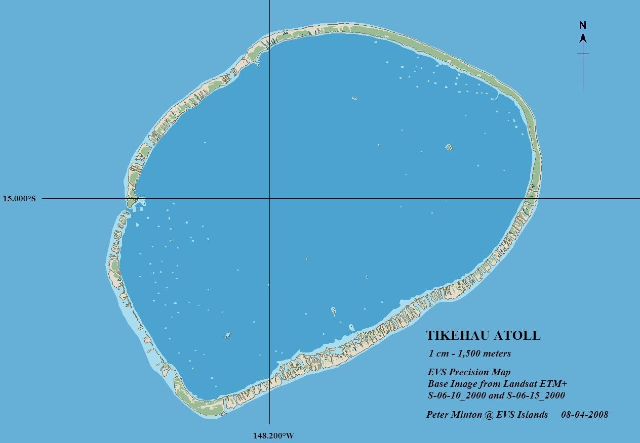 Tikehau Atoll French Polynesia  City new picture : Map Source: EVS Precision Map 1:150,000