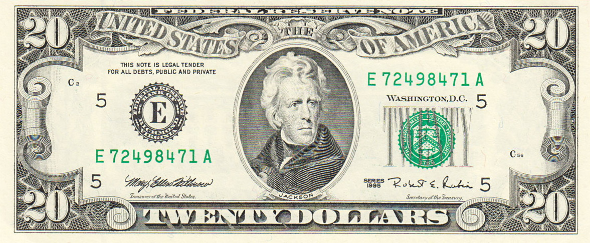 United States Twenty Dollar Bill