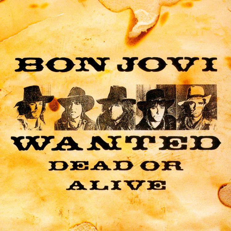 Vintage 80s framed bon jovi wanted dead or alive concert poster