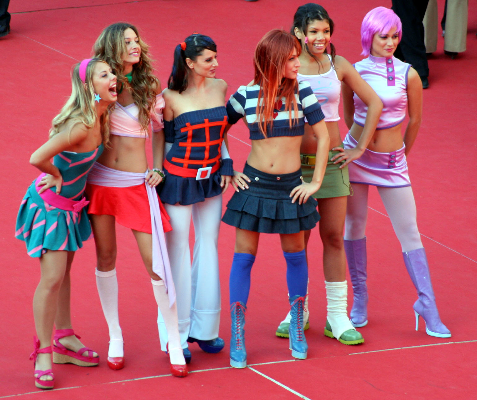 Dancers portraying the winx club attend the rome film fest in italy